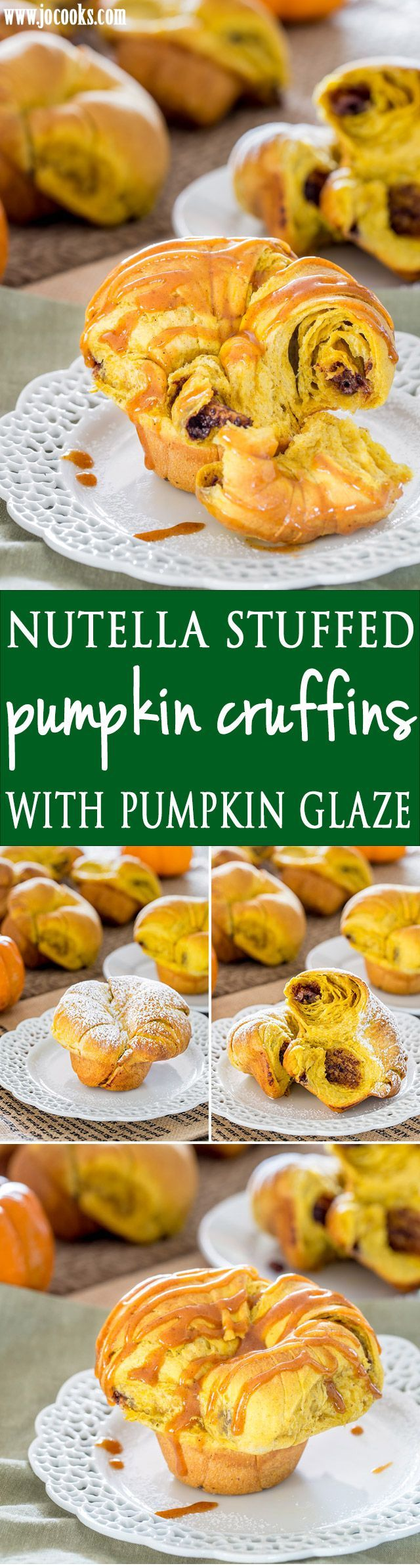 Nutella Stuffed Pumpkin Cruffins with Pumpkin Glaze - a cross between a muffin and a croissant these cruffins are amazing. No chilling, no folding, no copious amount of butter required, yet still flaky and delicious.
