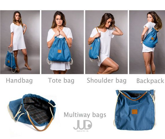 Blauwe koord rugzak tote multi manier terug zak zak tas