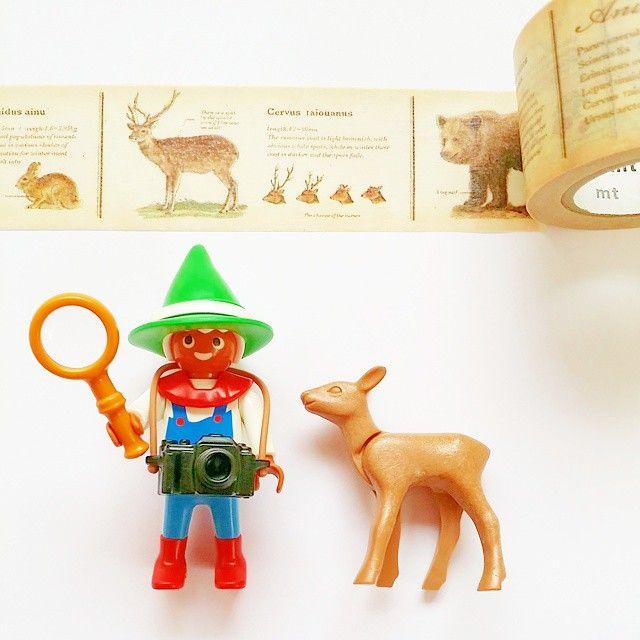 動物図鑑のマスキングテープ #playmobil #toys #deer #Animal #MaskingTape #Observation #Dwarf #IllustrationBook #プレイモービル #プレモ #プレモビ #マスキングテープ #マステ #マステモビ #鹿 #動物 #小人 #図鑑 #mt #カモ井