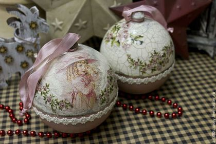 Новогодний шар шкатулка (розовый) - розовый,винтаж,винтажный стиль,подарок