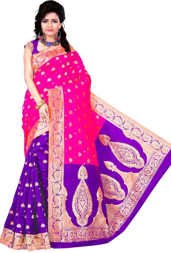 Purple and Cherry Pink Kanchipuram Silk Saree