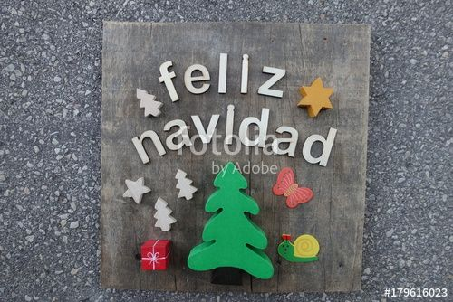 """Download the royalty-free photo """"Feliz Navidad, Merry Christmas wooden composition"""" created by yournameonstones at the lowest price on Fotolia.com. Browse our cheap image bank online to find the perfect stock photo for your marketing projects!"""