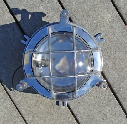 """Cast Aluminum Marine """"Clamshell"""" Light with Guard (new)"""
