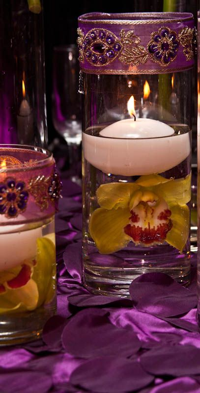Green cymbidium orchids  Purple Jewels & Floating Candles