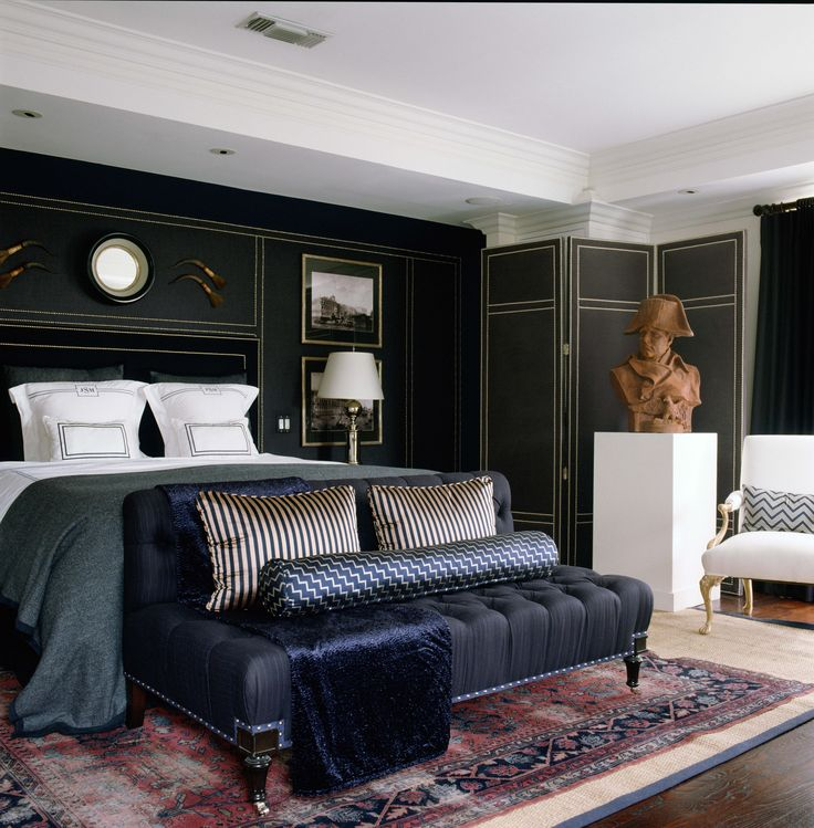 """I needed to create a space for a bachelor that said MAN. There is nothing more manly than walls swathed in wool pinstripes and fine English..."