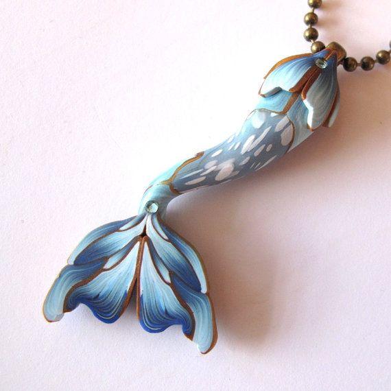 Blue Mermaid Tail Necklace, Mermaid Jewelry, Polymer Clay Mermaid Tail