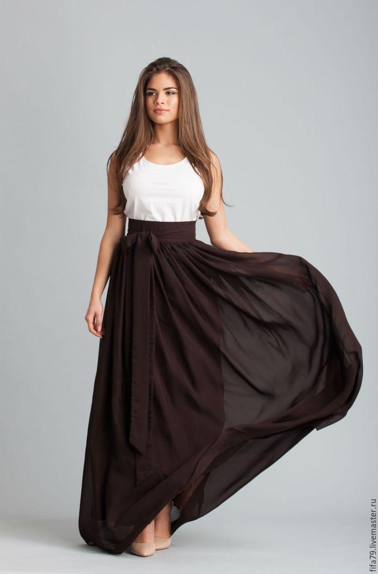 Купить Коричневая Супер Длинная Шифоновая Юбка - коричневый, шифоновая юбка, юбка в пол