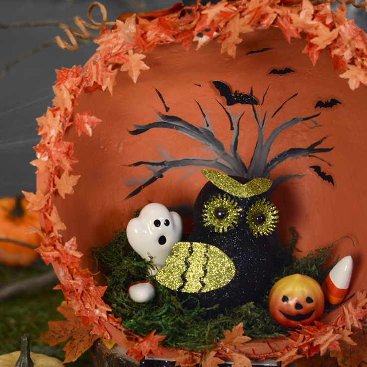 haunted half pumpkin halloween dioramas carvable pumpkins diy halloween decor unique halloween decorating - Halloween Diorama Ideas
