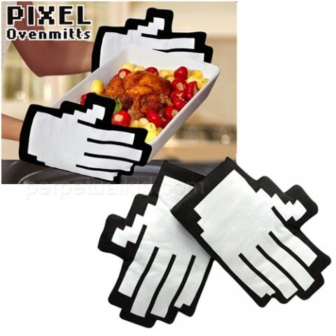 Pixel Oven Mitts: Thanks to @swiss-miss! Find them here http://tinyurl.com/4hmexvk $16.99 #Oven_Mitts #Swiss_Miss: Geek, Ideas, Stuff, Buy, 16 99 Oven Mitts, Kitchen, Ovens, Products