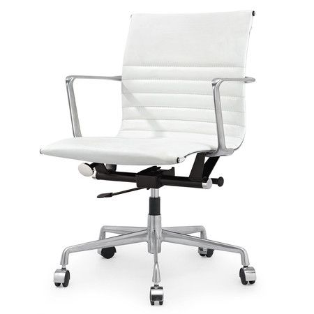 White Italian Leather M346 Modern Office Chairs