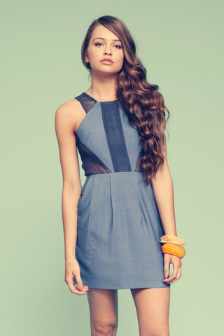 """Finders Keepers """"Off the wall"""" dress in Denim"""