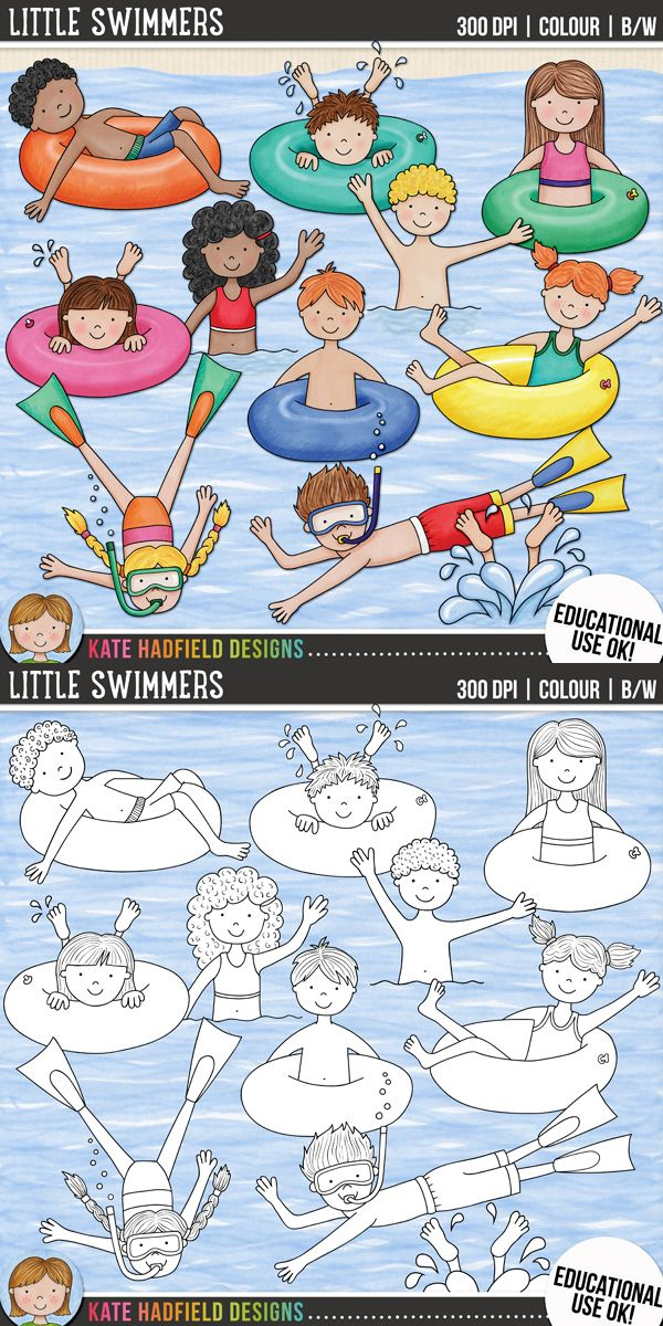 Swimming kids clip art for teachers! | Includes coloured clipart + black and white outlines all at 300 dpi for highest quality printing for your teaching resources and projects! | Hand-drawn clip art by Kate Hadfield Designs at Teachers Pay Teachers