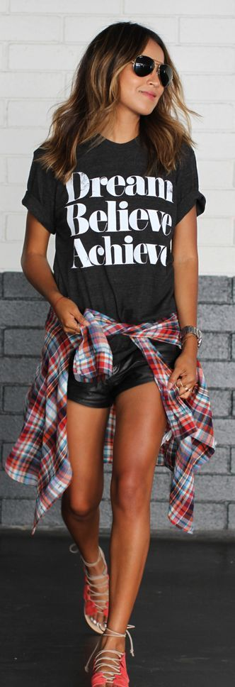 graphic tee + leather shorts
