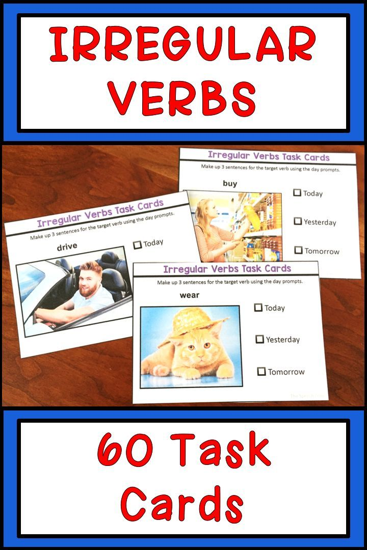 These Task Cards With Stock Photo Images Are Perfect For Practicing Irregular  Verbs! Make Them O… Verb Task Cards, Speech And Language, Speech Therapy  Activities