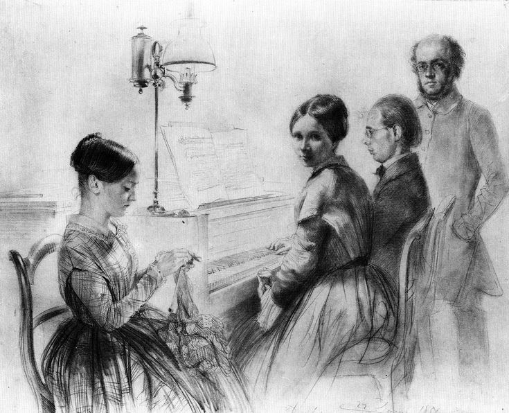 The Athenaeum - Menzel with His Brother, Sister and a Relative next to the Upright Piano (1851) (Adolph von Menzel - )