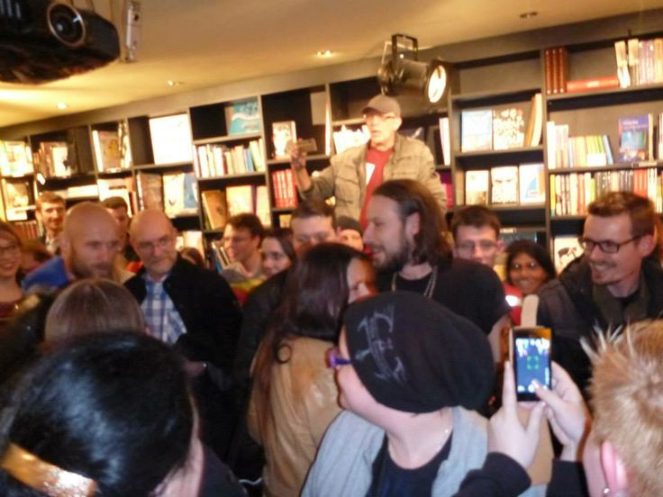 Me(Flemming) standing high up taking pictures,at the WT signing session in Concerto,Amsterdam 6-2-2014