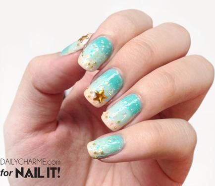 дизайн ногтей бульонки шарики   морская звезда Nail Design bulbs