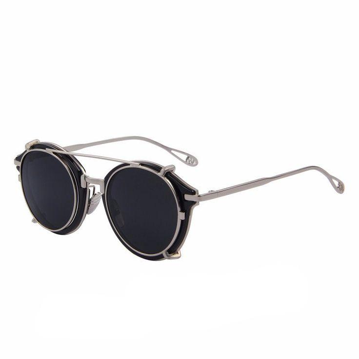Steampunk Round Flip Lens Sunglasses