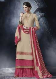 Wedding Wear Beige Cotton Lace Border Work Plazzo