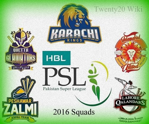 Pakistan Super League 2016: All Teams Squad, Players list - T20 Wiki
