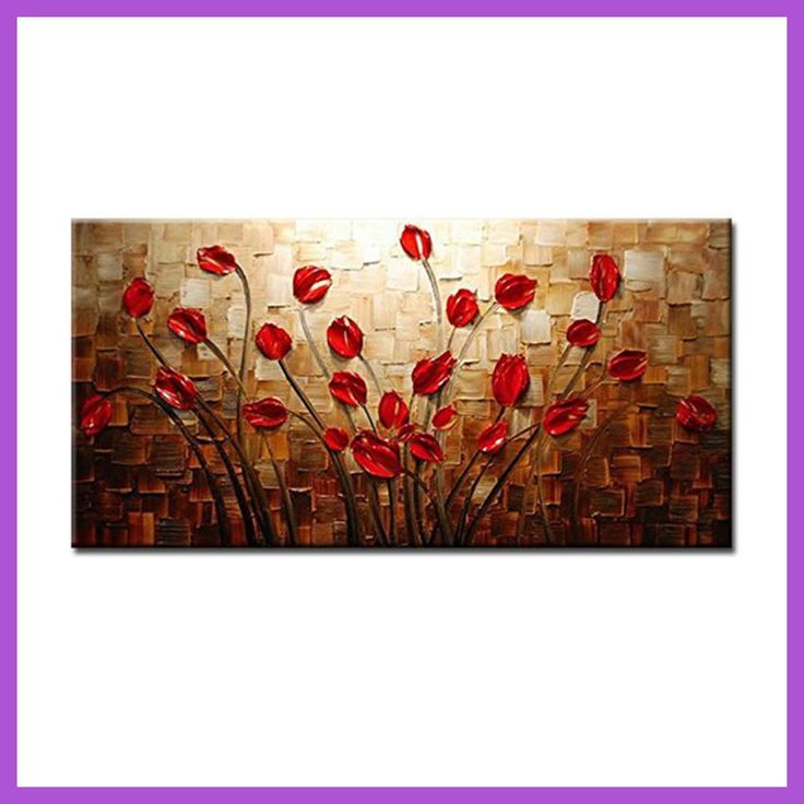 100% Pintado A Mano Con Textura Espatula Flor Roja Pintura Al Oleo Abstracta Moderna DE la Lona Wall Art Living Room Decor Image