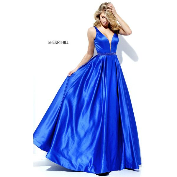 Satin Royal Sherri Hill 50496 Long Beaded A Line Prom Dress via Polyvore featuring dresses, blue satin dress, long day dresses, homecoming dresses, sherri hill dresses and sherri hill