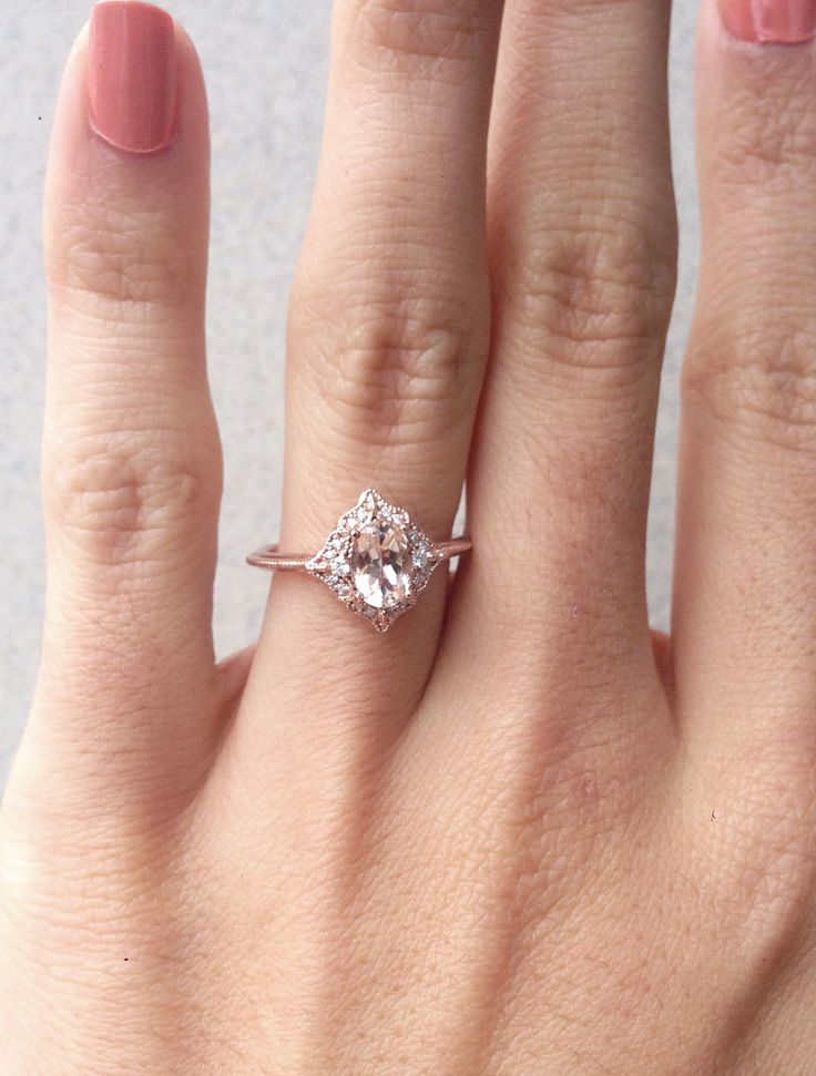 Morganite Engagement Ring, Oval Morganite Diamond Ring, Alternative Engagement Ring, Senior Ring, Morganite Rose Gold