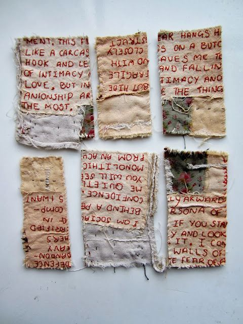 stitch therapy: reconstructed: could stitch text and then dip in plaster before sanding back