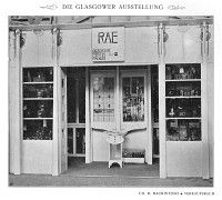 B/W photograph of Messrs Rae's stand at Glasgow International Exhibition 1901, from 'Dekorative Kunst', 8, 1901