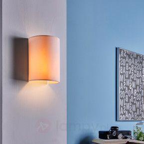 Półokrągła lampa ścienna Annalisa z tkaniny, biała