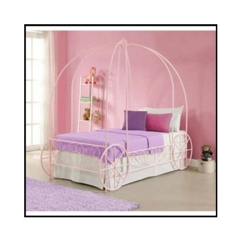 Metal-Twin-Bed-Carriage-Girls-Kids-Bedroom-Furniture-Frame-Toddler-Pink-Princess
