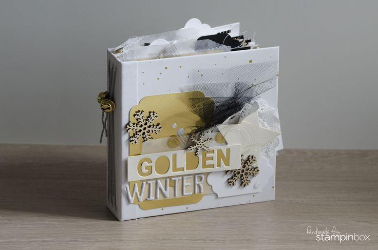 Winterliches Album - Gold - Fadenbindung - Zauberwald - #stampinup - stampinbox.de
