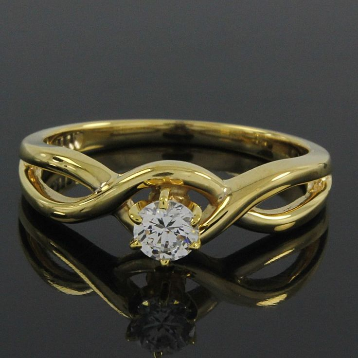 18k Yellow Gold Gp 0.36ct Round Cut VVS Diamond Solitaire Engagement Ring O936 #findingsnjewelry #Engagement