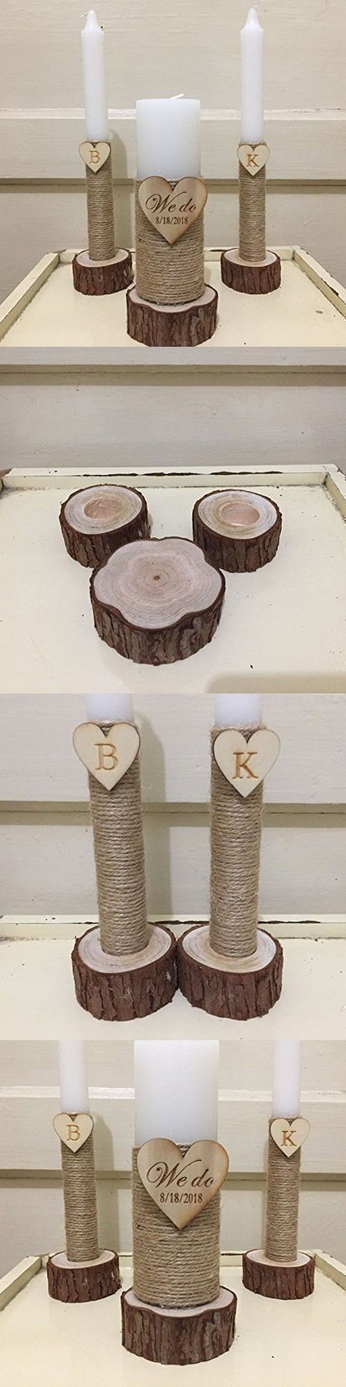Custom Wedding Candles Set, We do Wedding Ceremony Accessories Unity Candle Set 6-Inch Pillar and 2 10-Inch Tapers, Personalised Wedding Unity Candle Set with Wood Candles Holders #floatingunitycandle #unitycandleholders #weddingceremony