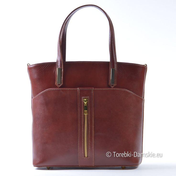 Brązowa torebka ze skóry licowej z pionowym ozdobnym suwakiem z przodu