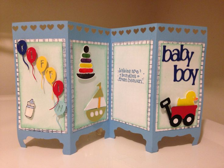 handmade card for a baby boy ... Screen/Room Divider  format ... four panels ... great for display ...