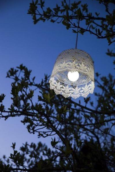 Műanyag, csipke mintás fehér mennyezeti lámpa. A lámpa egy darab elemmel működik (égési ideje 6-8 óra) emaitt praktikus kiegészítő lehet kertben, erkélyen is.