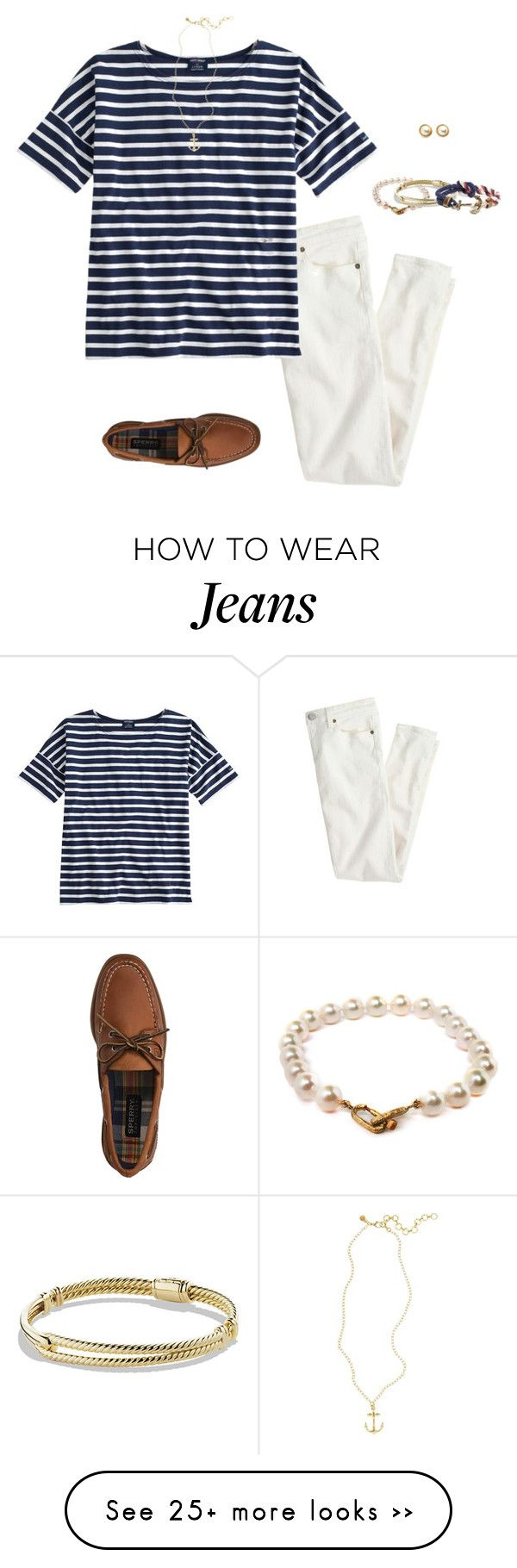 """""""Last Chance to Wear White Jeans"""" by mj-allie on Polyvore featuring J.Crew, Saint James, Sperry Top-Sider, Kate Spade, Brooks Brothers, Pearls Before Swine and David Yurman"""