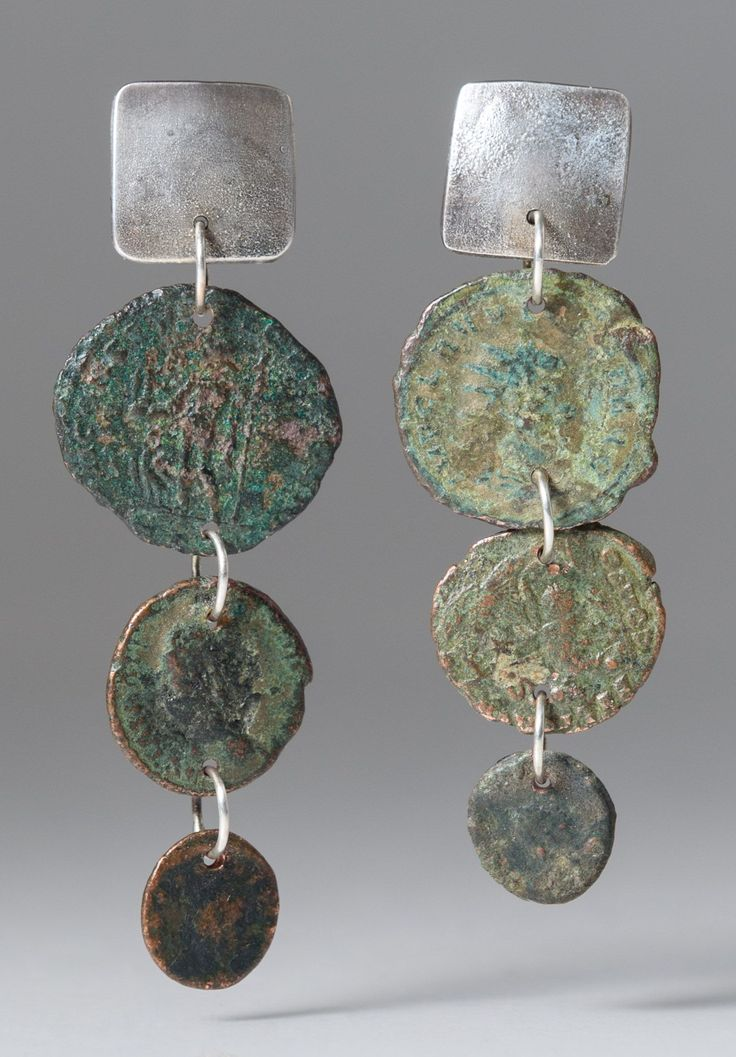 Holly Masterson 3 Dropped Ancient Roman Coin Earrings