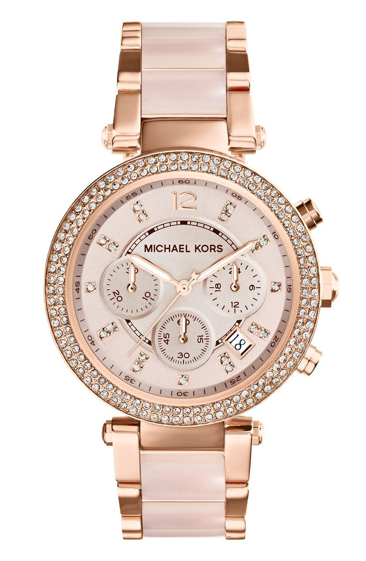 "A romantic touch of blush increases the charm on this Parker watch from Michael Kors. | Rose gold-tone stainless steel bracelet with blush acetate center links and deployant clasp (7-1/2"" L) 
