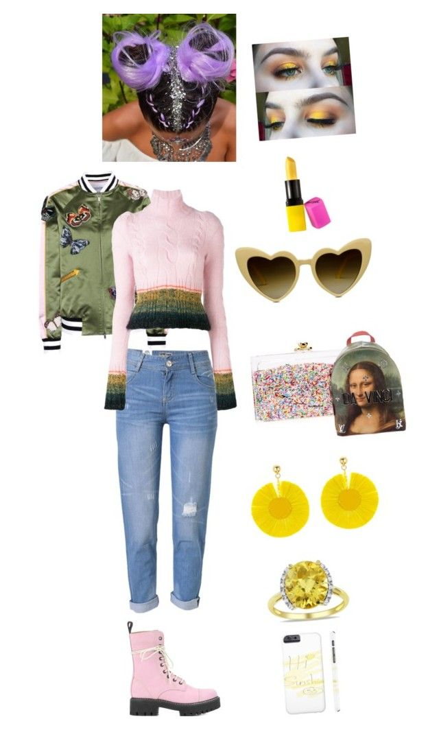 """Pops of yellow contest entry"" by odscene on Polyvore featuring Valentino, WithChic, A.F. Vandevorst, AlexaChung, Ashlyn'd, Louis Vuitton, Gucci, Oscar de la Renta, Miadora and Barry M"