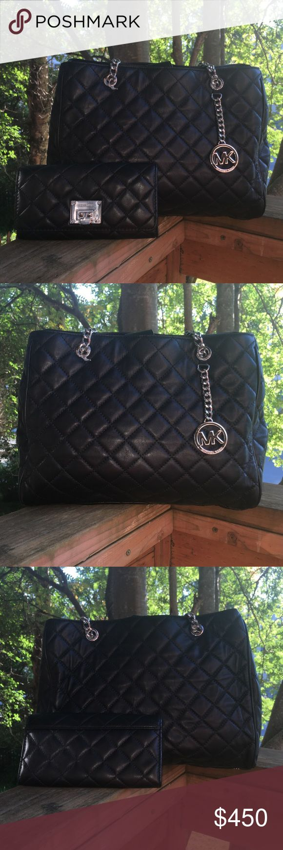 "MK Susannah Quilted Bag & Astrid Quilted Wallet MK LG Susannah Lamb Skin Quilted Bag is lined, 1 zip, multiple slip pockets, middle zip divider, protective feet, magnetic closure w/ dual chain & leather drop approx 9"" Astrid Quilted Lamb Skin Wallet has 16 slots for cards, middle zip divider full size slip pockets flap top closure with latch lock both silver hardware bag measures approx 13.5 X 9.5 X 4.25 Wallet measures approx 8 X 4 X 2 includes dust bag MSRP $690 MICHAEL Michael Kors Bags…"