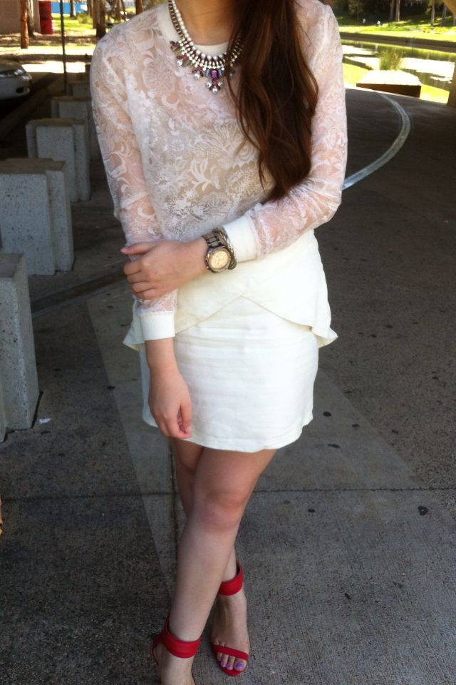 Do white on white and freshen it up with a hint of red   Sheer Embroidery K-Market Top   Nicola Finetti Peplum Skirt   Red Zara Heels   Michael Kors Watch   Statement Necklace  