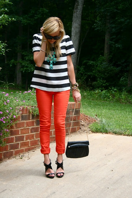 cute: Color Combos, Red Jeans, Bubbles Necklaces, Color Jeans, Stripes, Color Pants, Bubble Necklaces, Cool Outfit, Red Pants