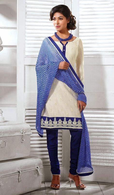 Off White Cotton Silk Churidar Suit Price: Usa Dollar $103, British UK Pound £61, Euro76, Canada CA$110 , Indian Rs5562.