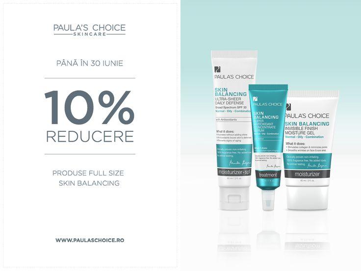 Colecția de produse din gama Skin Balancing curăță porii, îndepărtează punctele negre, reduce roșeața și menține aspectul tânăr și sănătos al pielii. Până la finalul lunii iunie, orice produs full size din gama Skin Balancing are o reducere de 10%. Vezi produsele incluse în promoție http://www.paulaschoice.ro/oferte-speciale.html