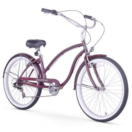 Sixthreezero 26 inch Firmstrong Chief Lady Seven Speed Beach Cruiser Bicycle, Purple