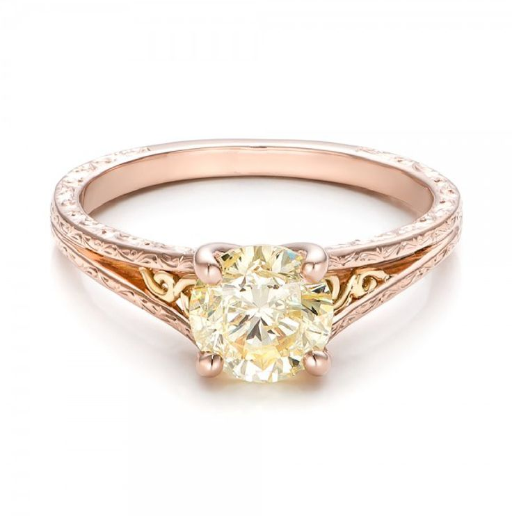 Round Champagne Diamond Solitaire Vintage Ring 18K Rose Gold