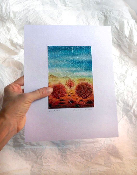 Original watercolor painting Art Turquoise by TheGoldenTrees, €35.00