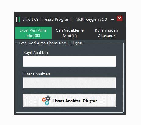 Bilsoft Excel Veri Alma ve Yedekleme Multi Keygen Gif